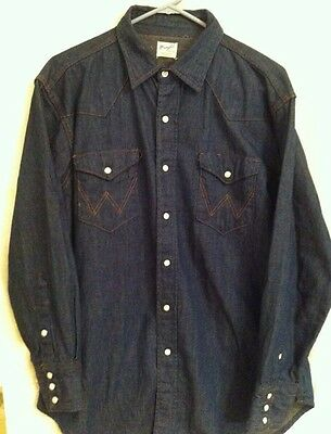 Vintage 1950's Sanforized WRANGLER Denim Shirt Size 16 1/2-33 Beautiful
