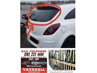 Vauxhall Corsa advise rear. Window Glass.