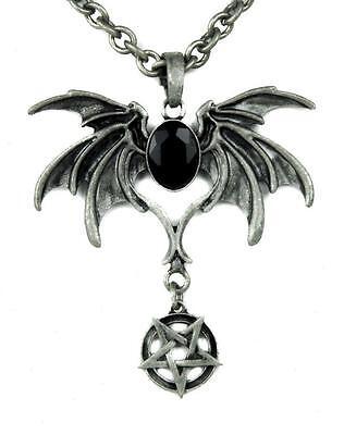(Black Stone Bat Death Wings Necklace Inverted Pentagram Goth Metal Psychobilly)