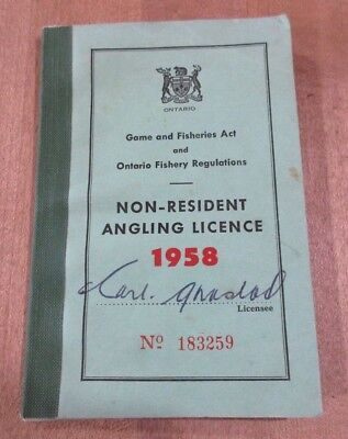 1958 Ontario Non Resident Angling Fishing License with shipping tags  #183259  >