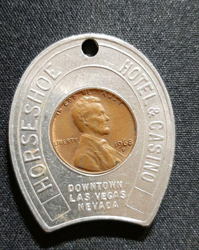 1968 HORSESHOE HOTEL & CASINO  VEGAS Lucky Penny Advertising Vintage Cent