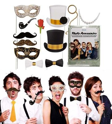 Accessori foto per feste a tema ed eventi- set 12 selfie stick photo booth