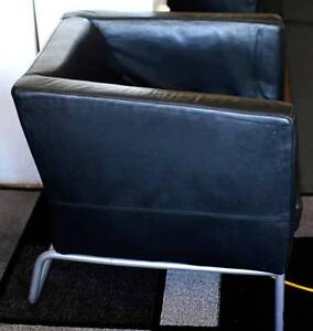 TWO BLACK GENUINE LEATHER MODERN IKEA CHAIRS. East Perth Perth City Area Preview