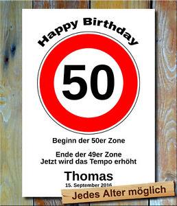 Verkehrsschild Bild 50 11 22 33 44 55 66 Geburtstag Deko Geschenkidee Wunschtext