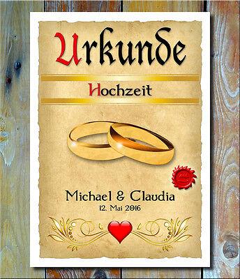 Urkunde Hochzeit Vermählung Trauung Geschenkidee Individueller Name Dekoration ()