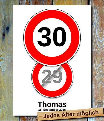 Verkehrszeichen Bild 30 Geburtstag Deko persönliches Verkehrsschild Partydeko (Schild Geburtstag Party)