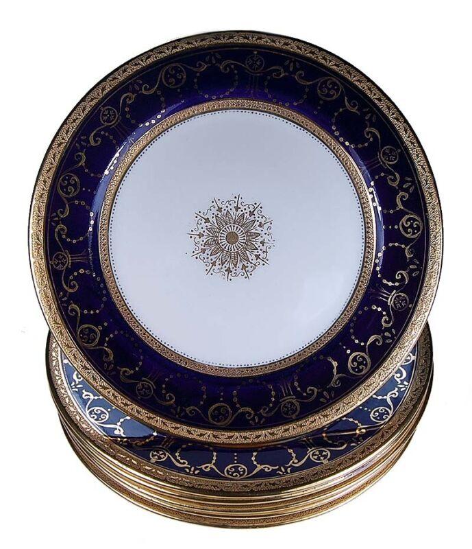 SET 6 ANTIQUE ENGLISH R&D BALMORAL RICH COBALT BLUE PURE GOLD ENCRUSTED PLATES!