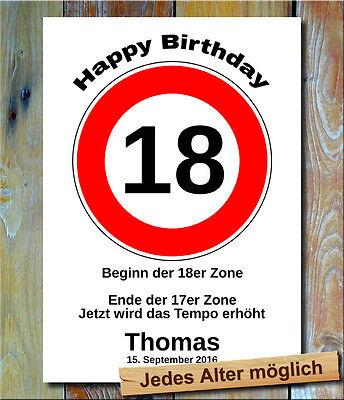 Verkehrszeichen Bild 18 35 Geburtstag Deko persönliches Geschenk