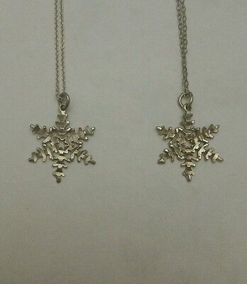 Sterling Silver Snowflakes Charms Pendants+Chains Necklaces  925