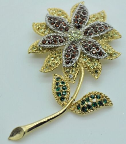 Vintage Flower Style Brooches dk green/clear/st mix color high-quality Bouquet