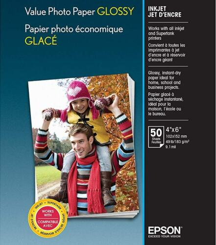 """Epson Value Glossy Photo 4"""" x 6"""" 50-Count Paper Bright white EPSON S400033 VALUE 4X6 50 CT"""