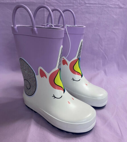 Cat & Jack Toddler Girl Unicorn Rain Boots Purple Size 8