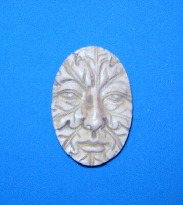 Greenman Green Man Polymer Clay 30x40 Cameo Push Mold DIY Jewelry Pagan Wicca #1