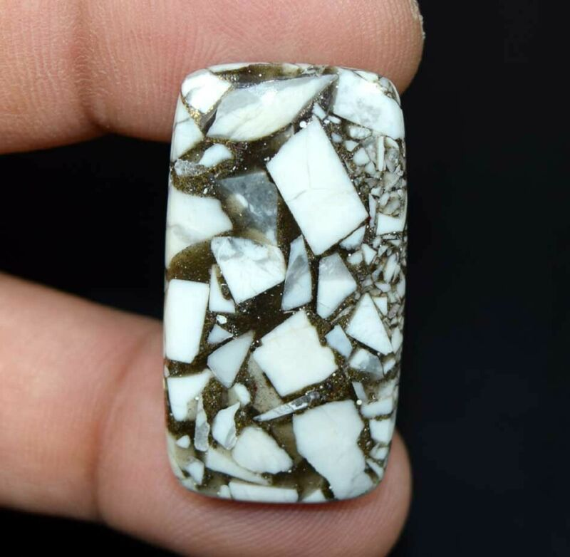 29.25 Cts. Reconstructed Copper White Howlite Cushion Cabochon Loose Gemstone