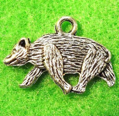 50Pcs. WHOLESALE Tibetan Silver BEAR 2-Sided Animal Charms Pendants Drops Q0433