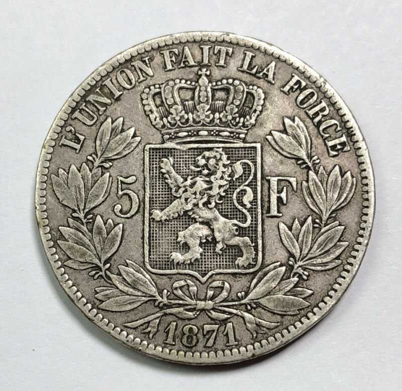 Silver World Coin ~ 1871 Belgium Leopold II 5 Francs ~ Silver 5 Frank Antique