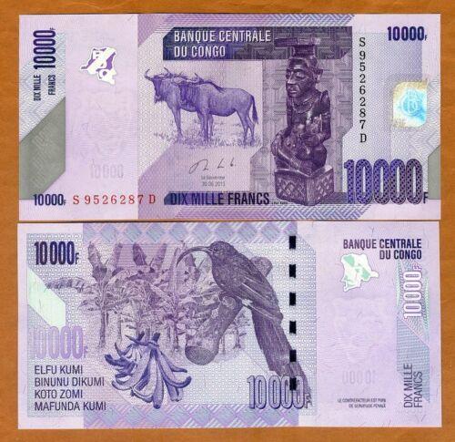 Congo D. R., 10000 (10,000) Francs, 2013 (2017), P-103b, UNC > Wildebeest