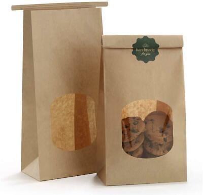 Bakery Bags With Window Kraft Paper Bags 100pcs Cookie Bags Coffee Bags