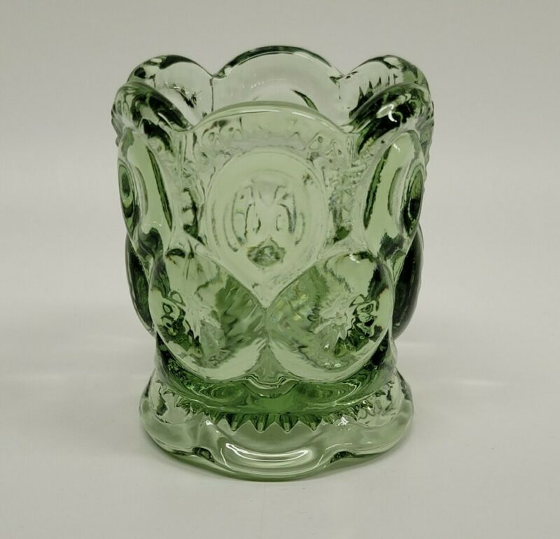 Weishar Moon And Star Glass Toothpick Holder Light Sage Green Scalloped Base