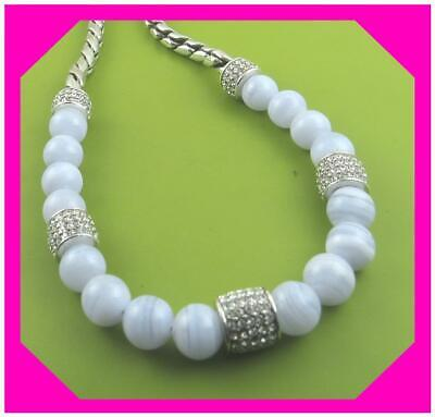 BRIGHTON MERIDIAN Blue Agate Bead Crystal Silver NECKLACE NWTag $98 Beaded Blue Agate Necklace