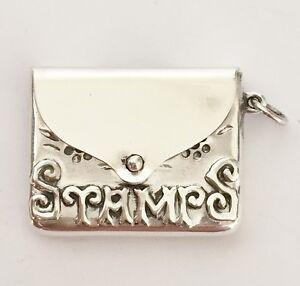 Fine Vintage 925 Solid Silver - Stamp Holder Case - Envelope Fob - Box