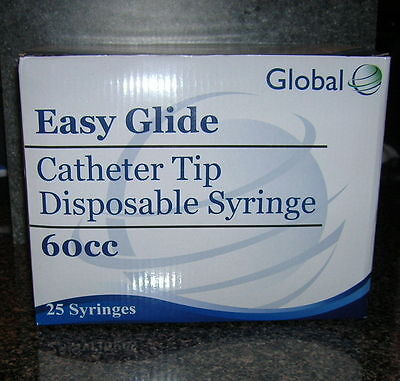 25-60cc 2oz Catheter Tip Easy Glide Syringes 60ml New Syringe Only No Needle