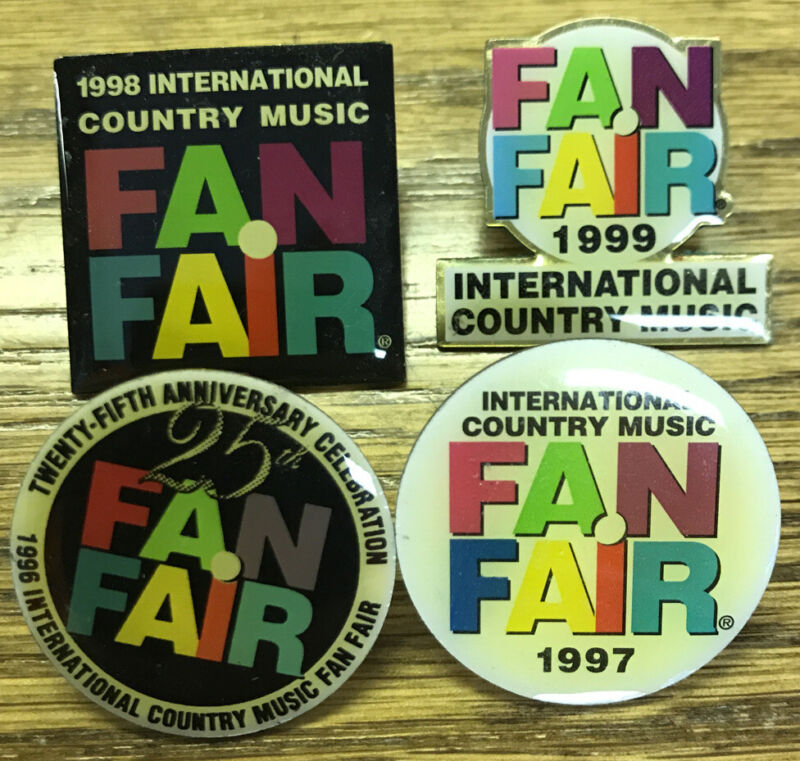Fan Fair Pins 1996 1997 1998 1999 Country Music Nashville with Free Shipping