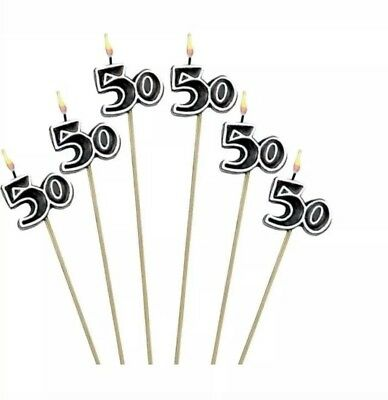 50th Milestone Candles on a Stick 50th Birthday Candles Cake Decorations 50 - 50th Birthday Milestone