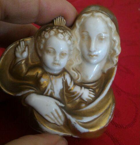 madonna con el bebé de porcelana antigua