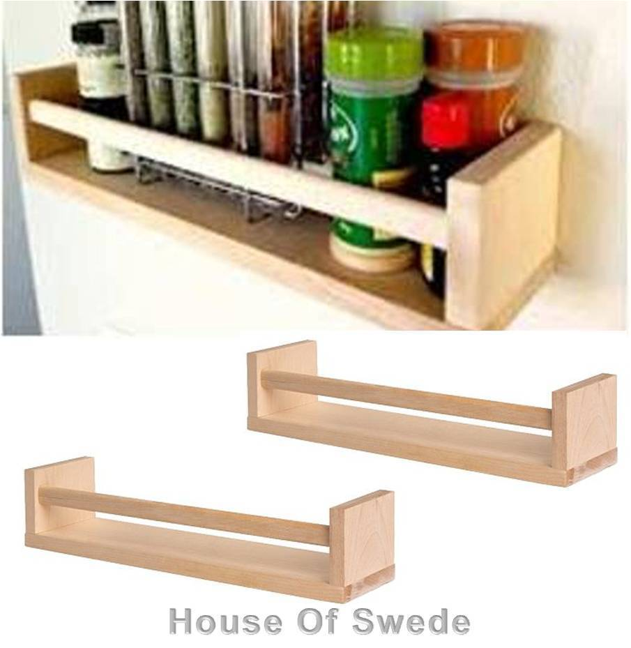 2 x ikea wooden spice rack solid birch wood kitchen wall storage holder bekvam - Ikea kitchen spice rack ...