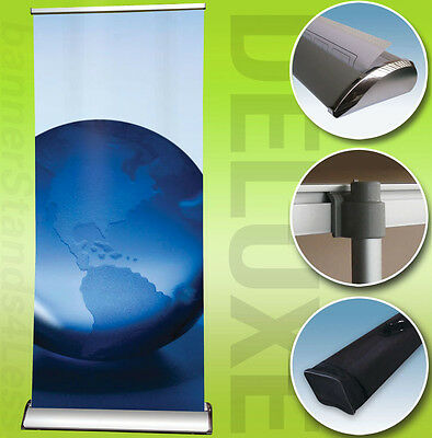 36x79 Deluxe Retractable Banner Stand Roll Up Trade Show Display Free Print