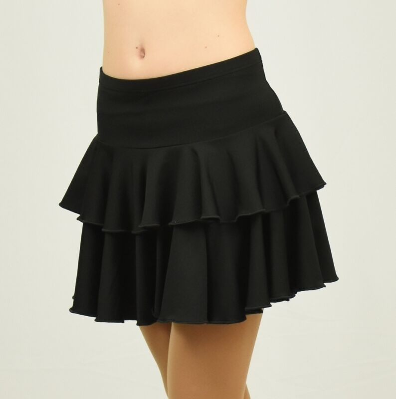 Black spandex two-ply circle dance skirt SMALL ADULT size