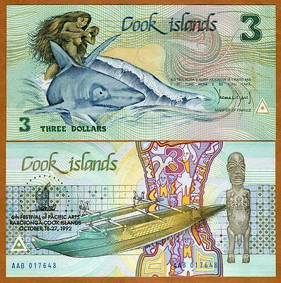 Picks 7-8-9-10 SET Cook Islands UNC $3;10;20;50 1992 AAA prefix
