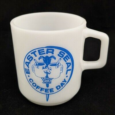 """Vintage Galaxy Milk Glass Easter Seals """"Coffee Day"""" Cup Mug Charity Advertising"""