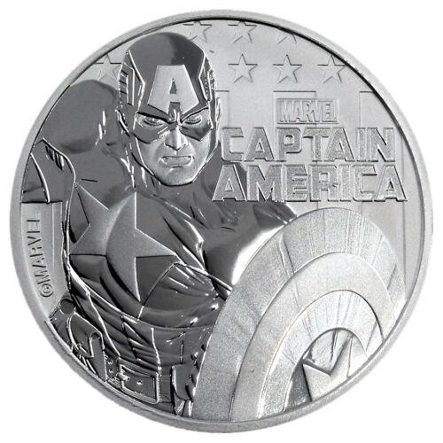 2019 Tuvalu Captain America 1 oz Silver Marvel Series $1 GEM BU SKU56978