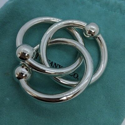 Tiffany & Co. Sterling Silver Triple Ring Baby Teether Rattle in Pouch & Box