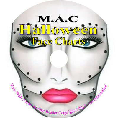 250+ Mac Makeup Face Charts Halloween Costume Theatrical Seasonal Pictures on CD