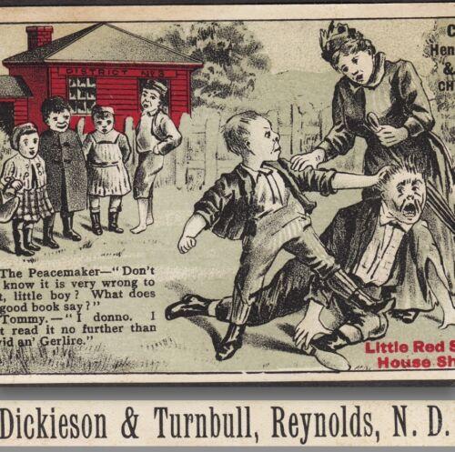 Reynolds ND Henderson Red School House Shoe David Goliath Bible Advertising Card