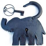 Original Padlock and Key. Elephant. From India. Reclaimed.