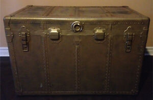 OVERSIZED antique golden metal sheet steamer trunk