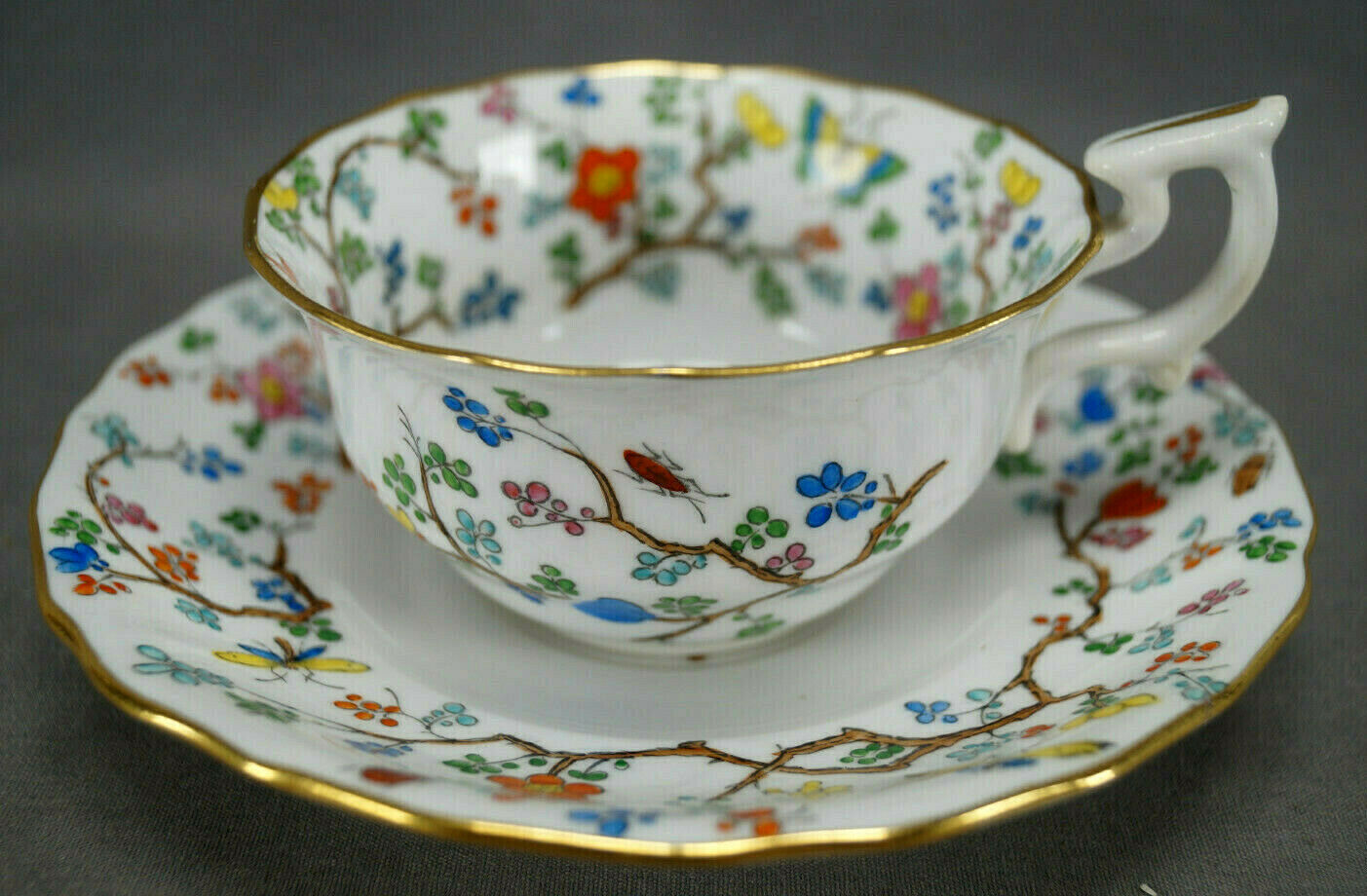 Spode Copeland Shanghai Pattern Hand Colored Bone China Tea Cup & Saucer C.1891+