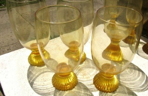 "THREE~LENOX TEMPO~ Buttercup Yellow 6.5"" Hand Blown Wine/Iced Tea Glasses"