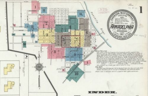 Arkadelphia, Arkansas~Sanborn Map© sheets~ 48 maps~~ CD~in full color~1886-1918