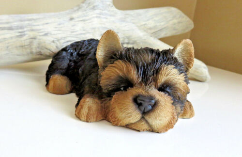 Yorkshire Terrier Puppy Dog Lying Down Sleepy Figurine Ornament  Decor Resin