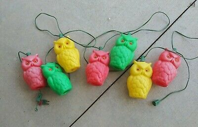 Vintage Patio RV Camping Plastic Blow Mold Owl Light String Set Of 7 - Works