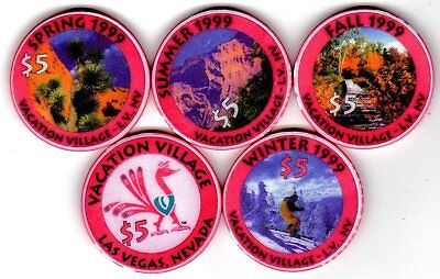 $5 Las Vegas Vacation Village Casino Chip Set of 4 - Uncirculated