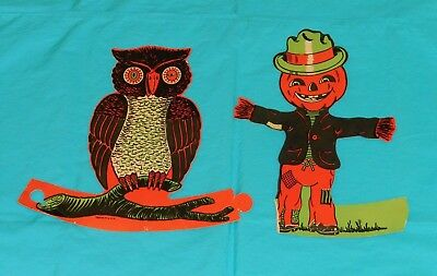 vintage Halloween BEISTLE STANDUP DECORATIONS LOT x2 owl & damaged scarecrow