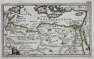 Original antique map NORTH AFRICA, EGYPT, CRETE, CYPRUS, SICILY, Cluver c.1697