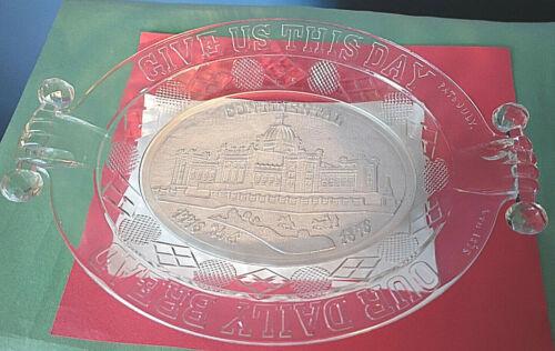 1876 Philadelphia Centennial Exposition Memorial Hall PRESSED GLASS BREAD PLATE