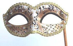 GLITTERING BLACK GOLD & JEWELS VENETIAN MASQUERADE PARTY  MASK ON A  HAND STICK